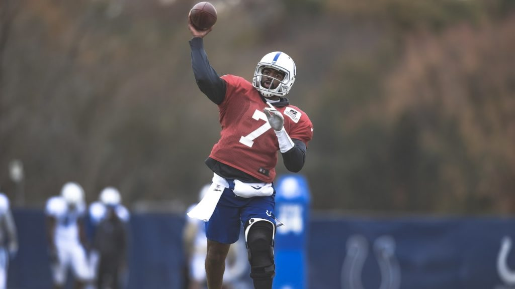 Quarterback Jacoby Brissett (knee) was limited in...