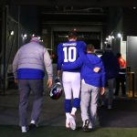 Eli Manning acknowledges his New York Giants...