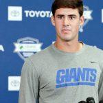 New York Giants' Daniel Jones getting work in at...